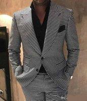 Хаундсешь Groom Tuxedos Пик нагрудных Мужчин Свадебного Tuxedo Мода Мужчина куртка Blazer Мужчины выпускной вечер ужин / Darty Костюм (куртка + брюки + галстук)
