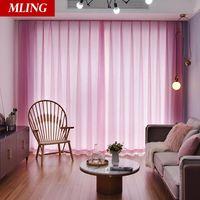 Macio romântico cortinas de tule para quarto sala de estar moderna janela translúcida pura cortina cor sólida porta longa porta drapes