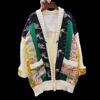 Lanmrem осень и зима пэчворк модные контрастные цветные печать ткань женские новые свободные для похудения кардиган 2A618 Y200915