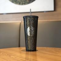 Authentische Starbucks Black Golden Durian Strohbecher 710ml Meerjungfrau Dazzle Farbe Kunststoff Kaltwasser Kaffeetasse Geschenk