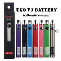 Ugo vii 2 v3 pré-aquecedor bateria VV 650 900mAh EGO EGO 510 bateria USB Vape Vape Vape Ajustável Bud Cartuchos Cartuchos Baterias
