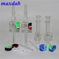 Smoking Nectar Collector con 14mm 18mm Consigli al quarzo da 18 mm DAB Straglia Attrementi in silicone Contenitore del silicone Reclaimer Keck Clip in vetro Tubo Accessori per fumo