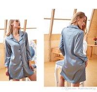 Accueil Loisirs à manches longues Yukata Lapel Nightgown Mme Simulation Ice Silk Home Service Matin Robe Femmes peignoirs