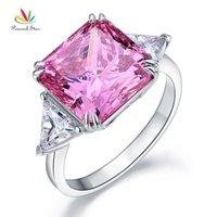 Tavuskuşu Yıldız Katı 925 Ayar Gümüş Üç-Taş Lüks Yüzük 8 Karat Fantezi Pembe Oluşturdu Diamante CFR8156 J0112