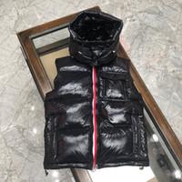 Sonbahar ve Kış Erkek Tasarımcı Ceketler Yüksek Kalite Kapüşonlu Ince Siyah Kaz Yüz Aşağı Yelek Sıcak Rahat Aşağı Yelek Boyutu S-2XL