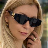 Lunettes de soleil de l'oeil de chat d'acétate épais Lettre d'or noir Lettre B Sun Lunettes 2021 Nouveau designeur de luxe femmes nuances UV rayons lunettes