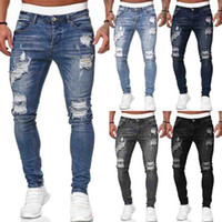 Mens Jeans Fashion Hole Ripped Jeans Trousers Casual Men Skinny Jean High Quality Washed Vintage Pencil Pants 5 Colora Size S-3XL