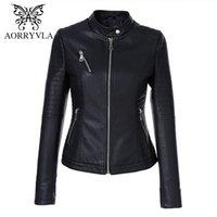 Aorryvla Siyah Kısa Sonbahar Bayan Deri Ceket Uzun Kollu Mandarin Yaka Moto Biker Fermuar Slim Kapitone PU Deri Ceket 201120
