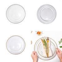 27 cm Round Bead Pratos Placa de vidro com ouro / prata / clara borda frisada de jantar redondo bandeja de serviço de casamento decoração de mesa GGA3206 141 g2