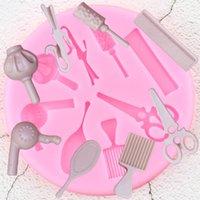 Strumenti di trucco di figura del fondente del silicone Stampi Pettine Specchio Scissor Cupcake Topper fai da te torta che decora gli attrezzi della caramella di cioccolato Stampi
