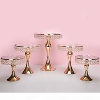 5 pcs definir ouro titular do bolo de cristal estande bolo Pan Cupcake mesa doce mesa de mesa mesa de mesa de mesa de casamento decorações