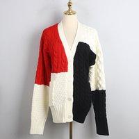 Vintage Kadınlar Moda Oversize Örme Triko Coat Noel Kış Çizgili Kollu Renk Patchwork V-Yaka Gevşek Hırka 2020 Yeni