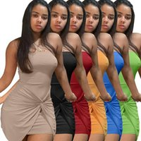 Designer Robes Sexy Bandes Sans Sans Sans Panmaille Mini Robes Casual Femmes Casual Solidon Robes Solid Couleur Femmes