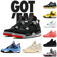 off white nike air jordan retro 4 4s 2021 Top JUMPMAN New Bred Zapatillas de baloncesto Cactus Jack Sail Union noir Hot Punch Black Cat Hombres Mujeres Zapatillas de deporte 36-47