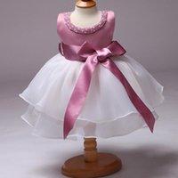 härlig tjej dres rosa spets tulle blomma flicka klänning stor bälte dekor prinsessa pärla boll klänning fest bröllopsklänning
