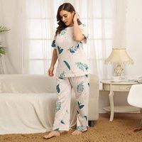 Doib 플러스 사이즈 잠옷 세트 여성 대형 화이트 인쇄 T 셔츠 바지 홈웨어 두 조각 세트 나이트웨어 느슨한 잠옷 Y0112