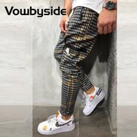Şık Ekose çizgili Baskı Fermuar Cep Tasarım Günlük Pantolon Erkek İpli İnce Sportif Jogger Pantolon Streerwear Erkekler Giyim