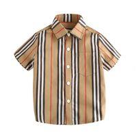 جيب طفل الفتيان مصمم قمصان الاطفال ملابس الصيف منقوشة التلبيب السراويل كم الأطفال عارضة بلوزة الكلاسيكية