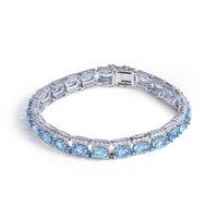 Topaz Bracciale GEM balletto Argento Bracciali Bangles Fine Jewelry Natural Blu pulseras plata de ley 925 Mujer