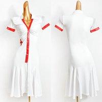 ÉTABLAGE ETABLES Robe de danse latine Femmes Blancs Manchons courts Pratique Costume de performance Tango VDB2646