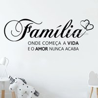 """Portuguese Saying Words Decals""""family where life begins and love never ends"""" Vinyl Lettering Wall Sticker For Home Decor LC1529 201201"""