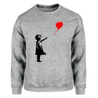 La pace mondiale Felpe Uomini KCCO Ragazza dell'aerostato Banksy Amore Felpa girocollo con cappuccio Inverno Autunno caldo pile grigio Streetwear