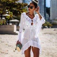 Couvercle de plage tricoté de Boheminling 2020 Bohemian 2020 Couverture de maillots de bain Femmes Robe Robe Flare Sleeve creuse Sexy Pareos Robes de volants blancs1