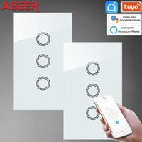 ASIER, AU / US 2PCS 3 WIFI WIFI Touche Wifi Touch Switch Panneau en verre blanc avec rétroéclairage de LED bleu / rouge, Smart Life App Control1