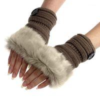 خمسة أصابع قفازات LY الشتاء النساء قفاز أفخم بلون فو الفراء اليد المعصم أدفأ السيدات الفتيات هدايا أصابع do991