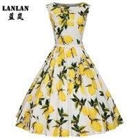 Lanlan XS-4XL الليمون الطباعة سوينغ 1950 ثانية اللباس 2021 الليمون الطباعة ميدي طول خمر توتو فساتين المرأة زائد حجم الصيف اللباس