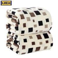 LRea 4ssiert Home Textile Square Plaid European Style Gedruckte geometrische Schokoladenhandwäsche Eine warme Flanelldecke auf dem Bett 201111