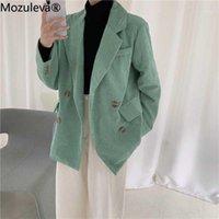 Mozuleva 8 Farboptionen Doppelreißgekerbkragen Frauen Blazer Jacke Elegante Taschen Weibliche Oberbekleidung Lady Workwear1