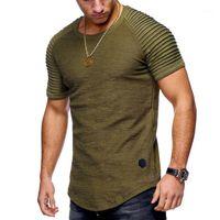 Человек с коротким рукавом Swag CUVE COM футболка плиссированные плечо жаккардовые полосатые стройные подходят футболка мужская хип-хоп футболка уличная одежда TOP1