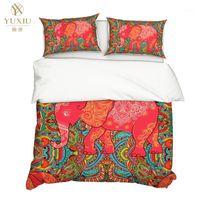 Yuxiu 3d الطباعة الحيوان الأحمر الفيل لحاف يغطي 3 قطع مجموعات الفراش مجموعة أغطية السرير لحاف غطاء الملك الملكة الكامل التوأم واحد 1