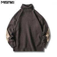 MISNIKI 2019 Sweaters Hommes Terrtleneck Solide Soft Soft Thinting Pullover Streetwear Hip Hop Sweaters JP241