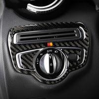 Mercedes C Class W205 C180 C200 GLC Aksesuar Karbon Elyaf Far Anahtarı Çerçeve Kapak Trim Araç Şekillendirme Sticker