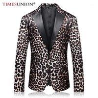 Timeunion männer mode leopard druck blazer qualität frühling herbst prom blazer sänger kleidung1