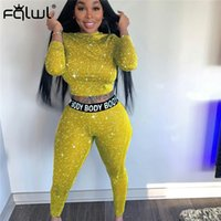 FQLWL Star Print Autumn Two 2 Piece Set Women Outfits Long Sleeve Crop Top Leggings Women Matching Sets Ladies Tracksuit Female 201007