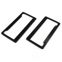 Areyourshop 2pc Frames Universal Black Fibra de carbono Estilo impreso Frente / trasero Marco de placa de la placa de automóviles Accesorios de automóviles Piezas