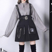 2020 Retro Vintage Mulheres Gótico Meninas Punk Mini Vestido Cintura Alta Manga Longa Chapéu Collar Sexy Gry Black Lolita Plus Size Jurken