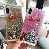 Glitter Yıldız Quicksand Noel ağacı Noel Baba Telefon Kılıfı iphone için X 5 8 6S 7 Artı 11 12 Pro Max Arka Kapak