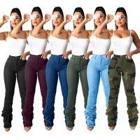 Женские джинсы с высокой талией Женщины штабелированные джинсы Леггинсы Стяните повседневные драпированные грузовые брюки общих брюк ночной клуб оптом Dropshping