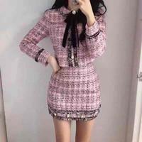 가을 겨울 트위드 양모 2 조각 세트 여자 bowknot 격자 무늬 스커트 세트 여성 fringed 트림 짧은 재킷 코트 + bodycon skirt 슈트 201027