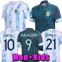 2020 Argentina Futebol Jersey 20 21 Copa Away Camisa de Futebol Messi Dybala Aguero Lo Celso Martinez TagliaFico Men + Kit Kit uniformes