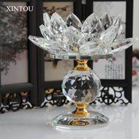 Xintou cristal vidro bloco de lótus flor metal titulares feng shui casa decoração grande tealight candle titular titular t200703