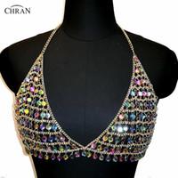 Chran AB Irridescent Bassiera partito Disco catena della spalla indossare gioielli collana Rave Bra Bralete Festival Dress Decor partito CRS424