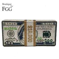 Boutique de FGG Handgemachte Stapel Gelddollar Frauen Geld Tasche Kristall Clutch Abendtaschen Cocktail Abendessen Geldbörsen und Handtaschen 201204