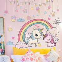 [Shijuehezi] Animales de dibujos animados Pegatinas de pared DIY Rainbow Unicornio Caballo de Caballo Calcomanías para niños Habitaciones Dormitorio para bebé Decoración del hogar 201106