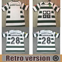 S-2XL Sporting Lisboa Retro 2002 2003 Jerseys de futebol # 28 C.ronaldo 02 03 Vintage Maillot Danny Camisa de Futebol SA Pinto Camisas de futebol