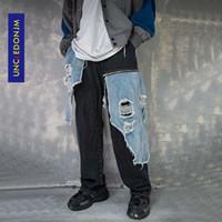 Jeans pour hommes Numéro d'hommes Men Men Patchwork endommagé Hip Hop Designer 20aw Street Port Pantalons Pantalons en vrac K8006